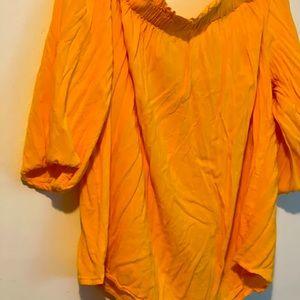 1X plus summer color yellow blouse